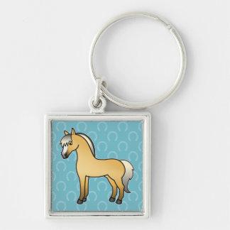 Cartoon-norwegisches Fjord-Pferd Silberfarbener Quadratischer Schlüsselanhänger