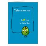 Cartoon-olivgrüne Liebe-Gruß-Karte
