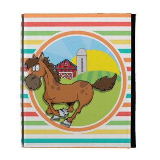 Cartoon-Pferd; Helle Regenbogen-Streifen