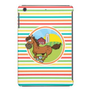 Cartoon-Pferd; Helle Regenbogen-Streifen iPad Mini Hüllen