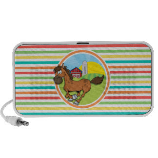 Cartoon-Pferd Helle Regenbogen-Streifen Mini Lautsprecher