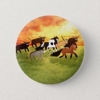 Cartoon-Pferde, die mit Stier laufen Runder Button 5,1 Cm
