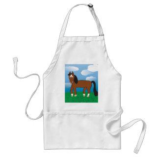 Cartoon-Pferdebucht mit weißen Socken Schürze