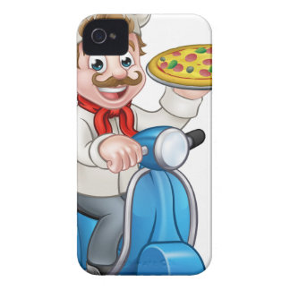 Cartoon-Pizza-Koch auf Lieferungs-Moped-Roller iPhone 4 Case-Mate Hülle