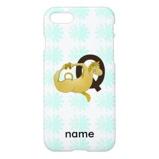 Cartoon-Pony des Monogramm-Q personalisiert iPhone 8/7 Hülle