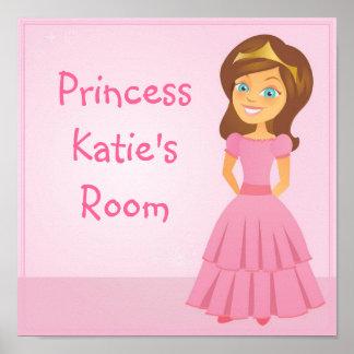 Cartoon-Prinzessin Customizable Childrens Wall Art Plakate