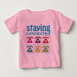 Cartoon-Retro Telefon-buntes lustiges Baby T-shirt