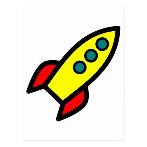 Cartoon Rocket Postkarten