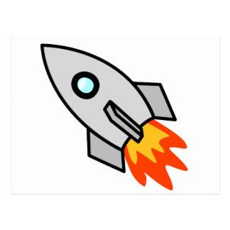 Cartoon-Rocket-Schiff Postkarte