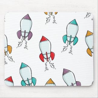 Cartoon-Rocket-Schiffs-Muster Mousepad