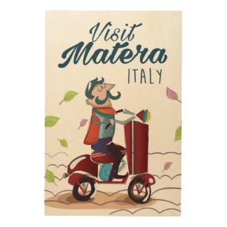 Cartoon-Rollerreisedruck Matera Italien Holzleinwand