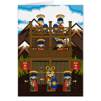 Cartoon-römische Befehlshaber-Soldaten am Fort Karte