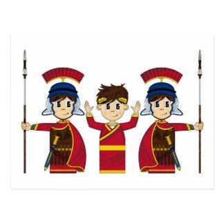 Cartoon-römischer Kaiser und Soldaten Postkarte