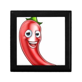 Cartoon-rote Paprika-Pfeffer-Maskottchen Erinnerungskiste
