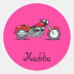 Cartoon-rotes Motorrad - Motorrad Runder Aufkleber