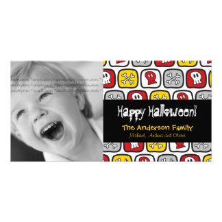 Cartoon-Schädel-Knochen-glückliche Halloween-Foto- Photo Karten Vorlage
