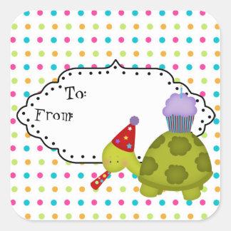 Cartoon-Schildkröte-Partygeschenkumbau Quadratischer Aufkleber