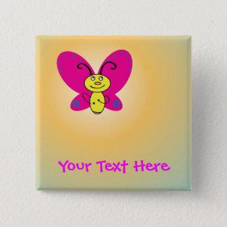 Cartoon-Schmetterling Quadratischer Button 5,1 Cm