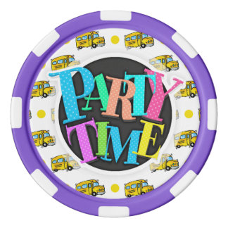 Cartoon-Schulbus-, Gelbe u. weißepolka-Punkte Poker Jetons