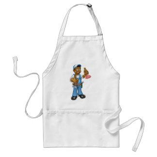 Cartoon-schwarzer Klempner-Heimwerker, der Punger Schürze