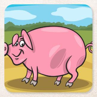 Cartoon-Schwein auf ein Bauernhof-Untersetzer Rechteckiger Pappuntersetzer