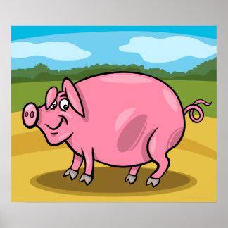 Cartoon-Schwein auf einem Bauernhof-Plakat Poster