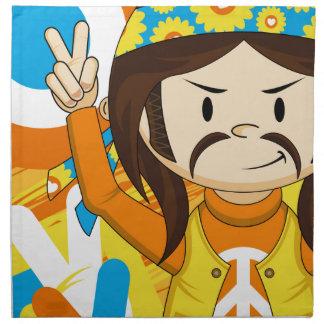 Cartoon-Sechziger-FriedensHippie Serviette