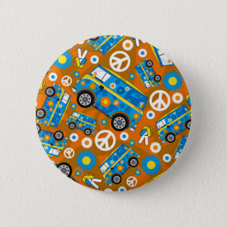 Cartoon-Sechziger-FriedensHippie Van Runder Button 5,7 Cm