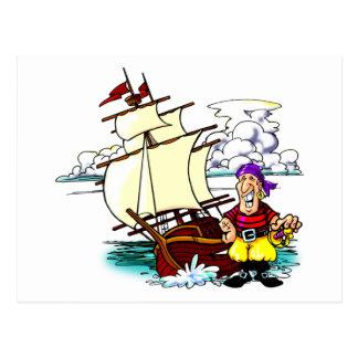 Cartoon-Segeln-Schiff Postkarte