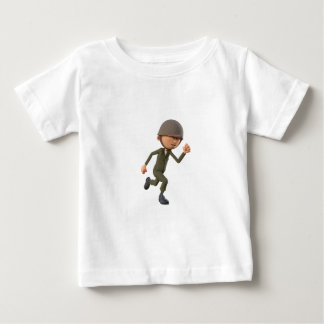 Cartoon-Soldat-Betrieb Baby T-shirt