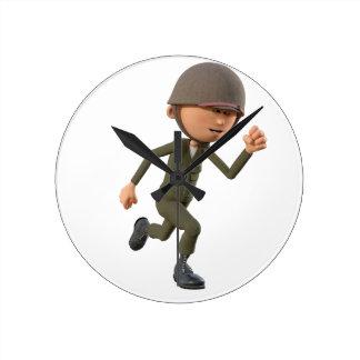 Cartoon-Soldat-Betrieb Runde Wanduhr