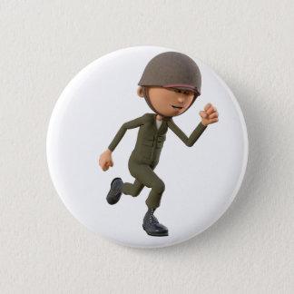 Cartoon-Soldat-Betrieb Runder Button 5,7 Cm