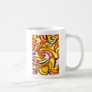 Cartoon-Strudel-Abstrakte Kunst handgemalt Kaffeetasse