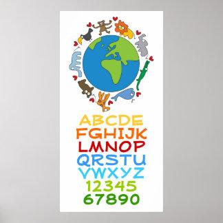 Cartoon-Tiere des Weltalphabetes nummeriert Kinder Poster