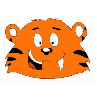 Cartoon-Tiger mit dem süßen Zahn Postkarte