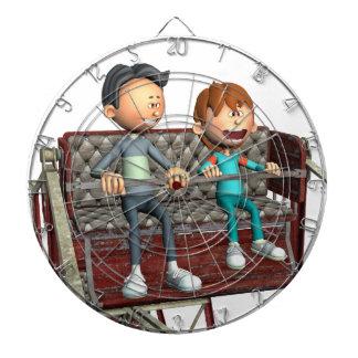 Cartoon-Vater und Sohn auf einem Riesenrad Dartscheibe