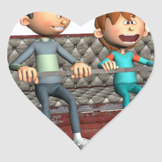 Cartoon-Vater und Sohn auf einem Riesenrad Herz-Aufkleber