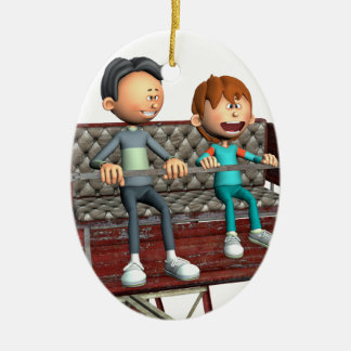 Cartoon-Vater und Sohn auf einem Riesenrad Keramik Ornament