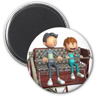 Cartoon-Vater und Sohn auf einem Riesenrad Runder Magnet 5,1 Cm