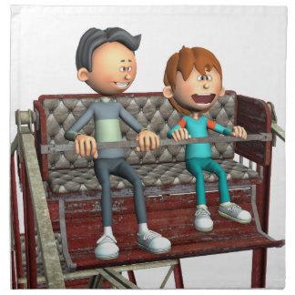 Cartoon-Vater und Sohn auf einem Riesenrad Serviette