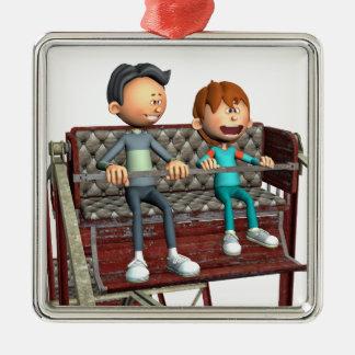 Cartoon-Vater und Sohn auf einem Riesenrad Silbernes Ornament