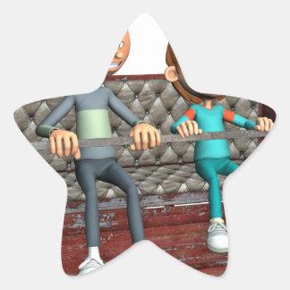 Cartoon-Vater und Sohn auf einem Riesenrad Stern-Aufkleber