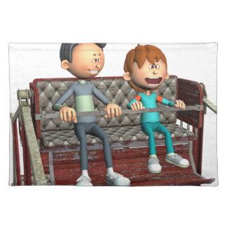 Cartoon-Vater und Sohn auf einem Riesenrad Stofftischset