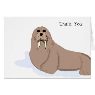 Cartoon-Walroß danken Ihnen Mitteilungskarte