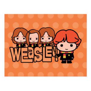 Cartoon Weasley Siblilings Grafik Postkarte