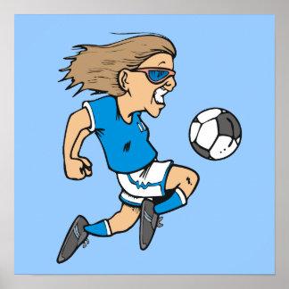 Cartoon-weibliche Fußball-Stern-T-Shirts und Gesch Poster