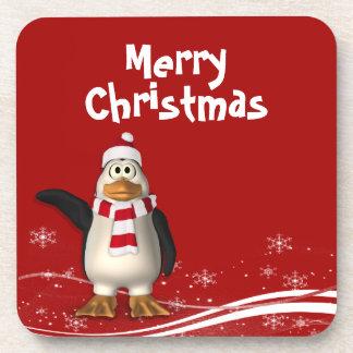 Cartoon-Weihnachtsmannpenguin-Weihnachten Getränke Untersetzer