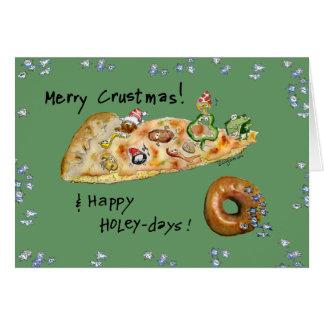 Cartoon-Weihnachtspizza und -krapfen Karte