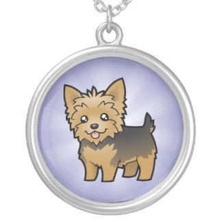 Cartoon-Yorkshire-Terrier (kurzes Haar kein Bogen) Halskette Mit Rundem Anhänger