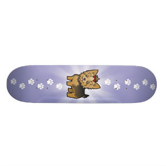 Cartoon-Yorkshire-Terrier (kurzes Haar mit Bogen) Individuelle Skateboards